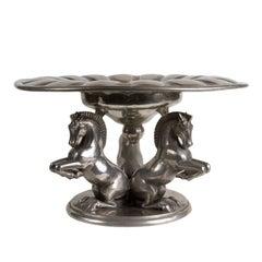 Sculptural French Pewter Centerpiece