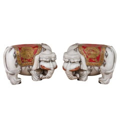 Whimsical pair of Chinese Elephant Benches