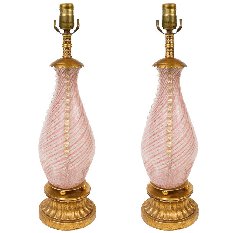 pair of murano blown glass lamps for sale at 1stdibs. Black Bedroom Furniture Sets. Home Design Ideas