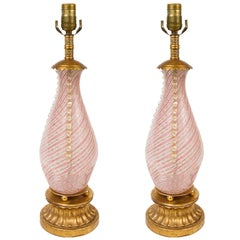 Pair of Murano Blown Glass Lamps