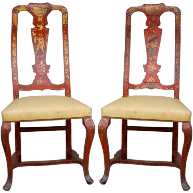 Beautiful Pair Of Eighteenth Century Red Japaned Venetian Chairs At 1stdibs