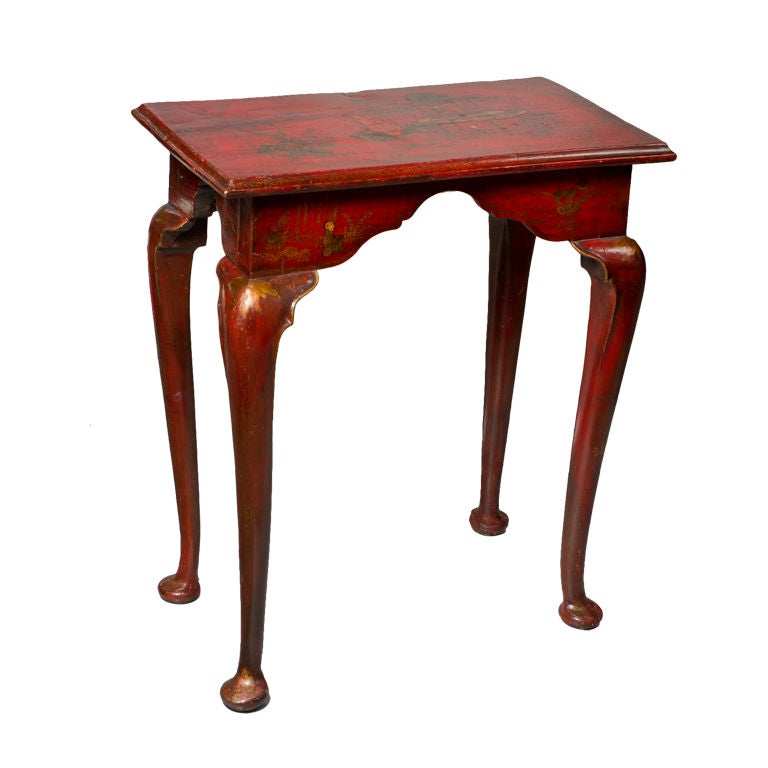 Eighteenth century english red japanned side table at 1stdibs for Red side table