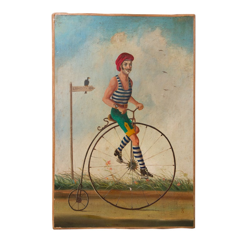 """Whimsical Oil on Canvas """"The Bicycle"""""""