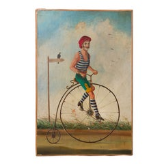 "Whimsical Oil on Canvas ""The Bicycle"""
