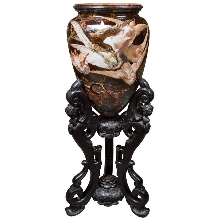 Important Glazed Ceramic Majolica Wear Vase On Stand For Sale