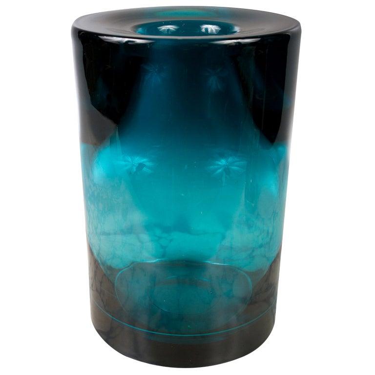 Cylindrical Aqua Blue Glass Vase At 1stdibs