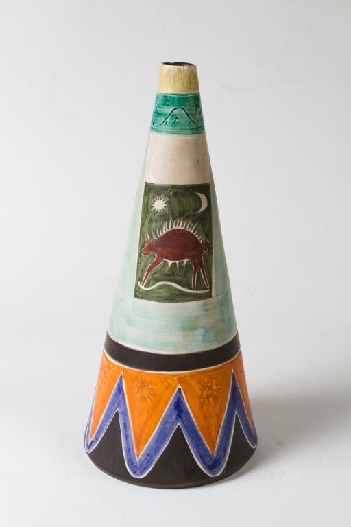 20th Century Italian 1950's Ceramic Vase For Sale
