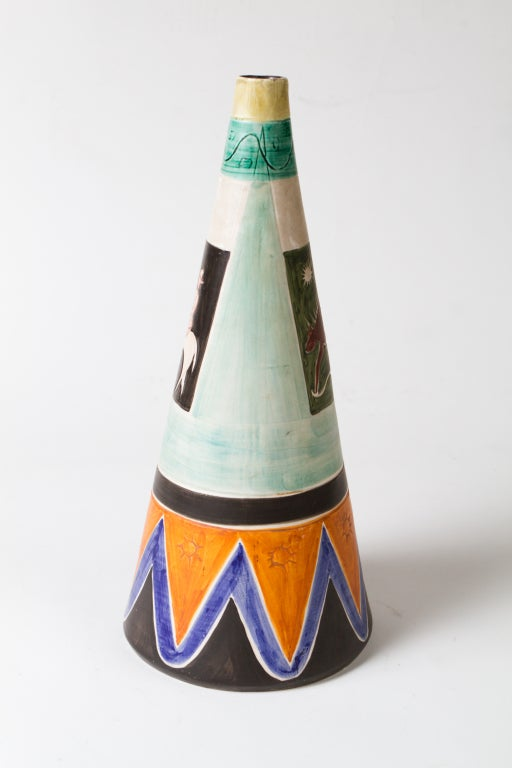 Italian 1950's Ceramic Vase For Sale 1