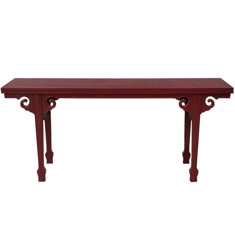 Cinnabar Red Asian Modern Side Table