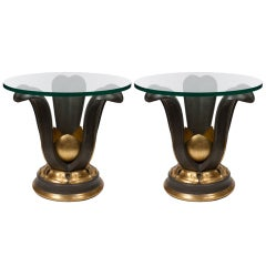 Stylish Pair of Glass Top Tables in The Manner of Maurice Dufrene