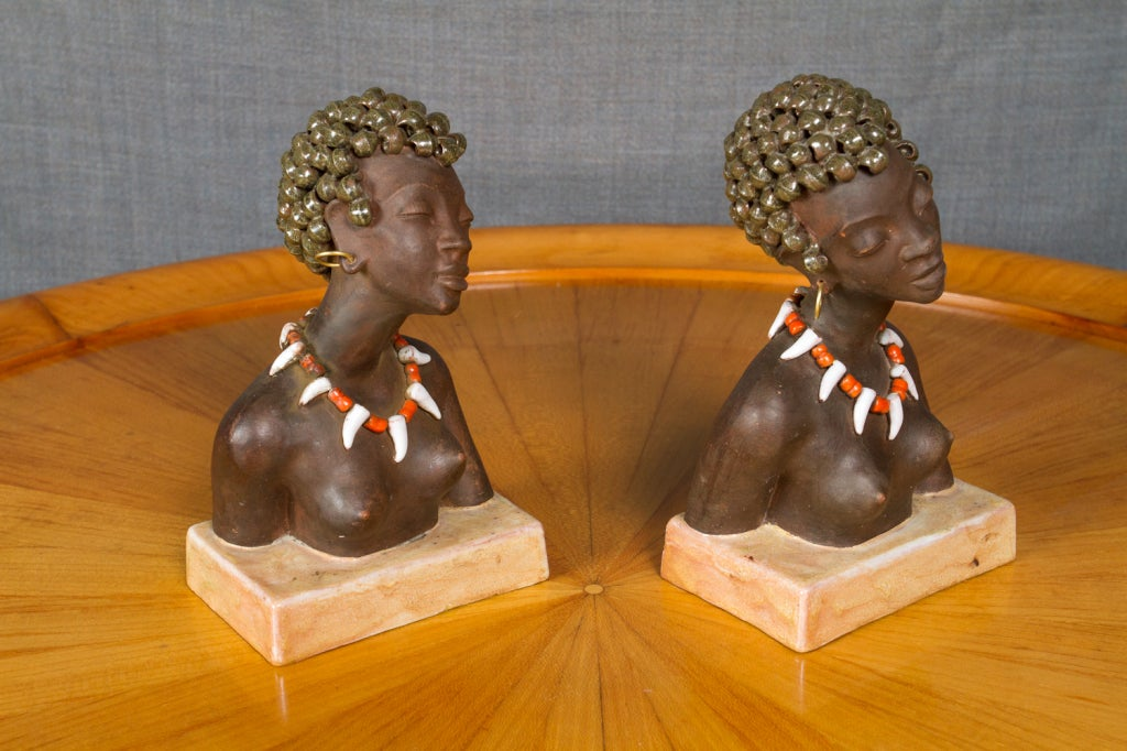 Pair of Anzengruber Keramik Bookends 2