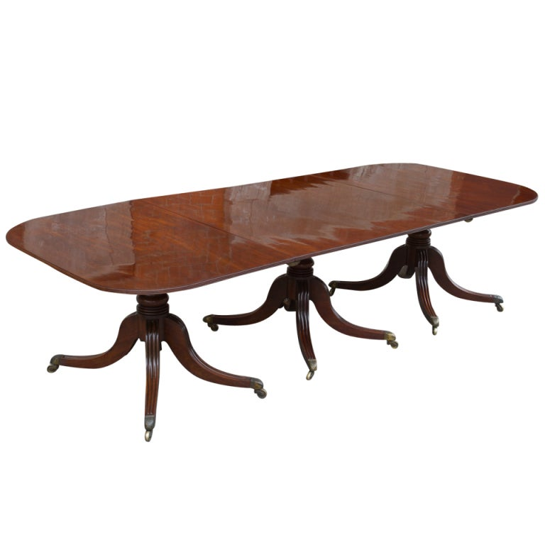 Regency Period Mahogany Triple Pedestal Dining Table At 1stdibs