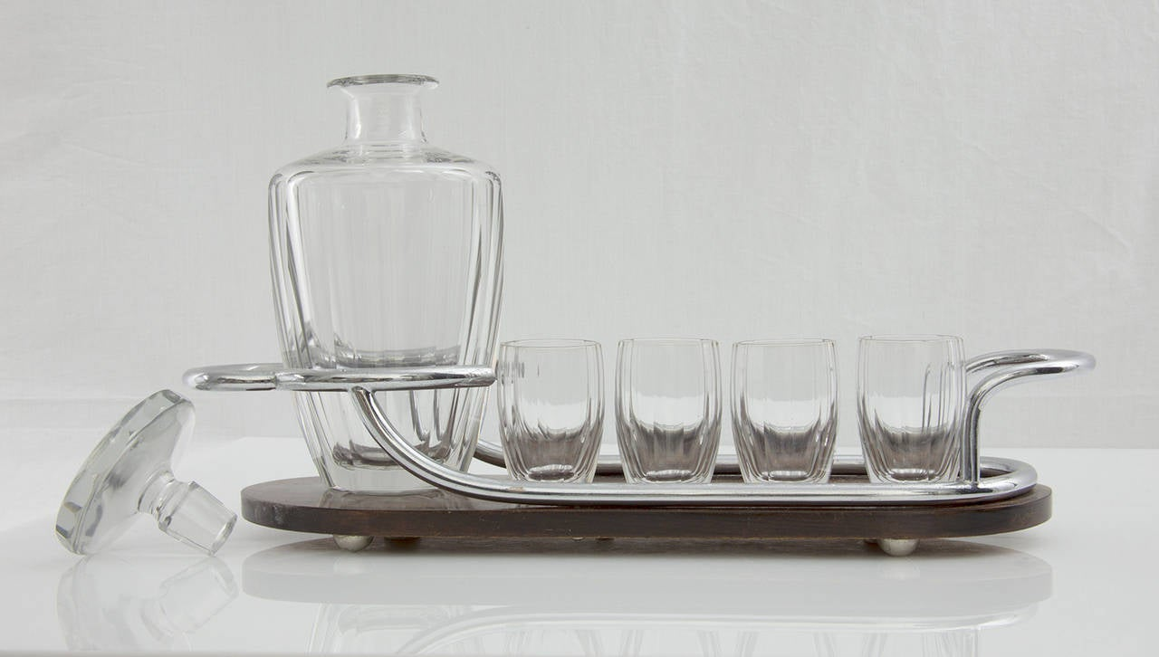 French Art Deco Bar Set Decanter and Glasses on Mahogany and Silver Serving Tray
