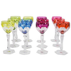Set of 12 Val Saint Lambert Wine Glasses, circa 1950s