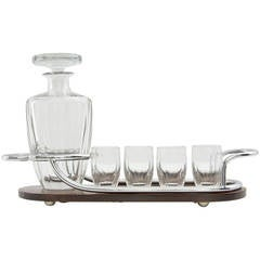 Art Deco Bar Set with Rosewood and Silver Serving Tray