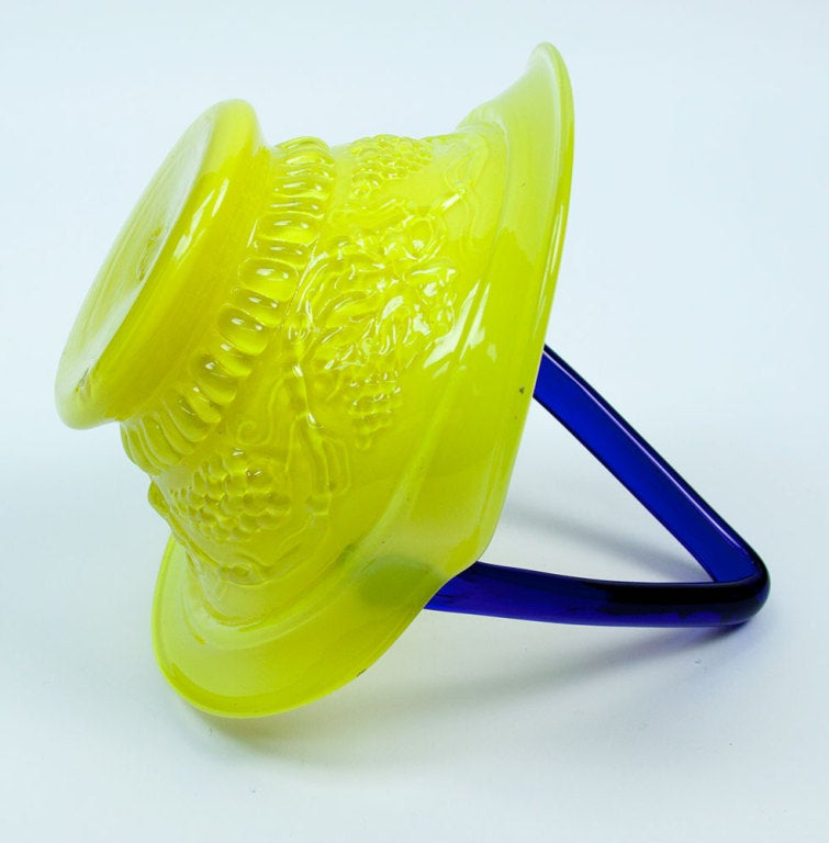 Mid-Century Modern Mid Century Modern Yellow and Blue Glass Basket, circa 1950s Estate Find For Sale