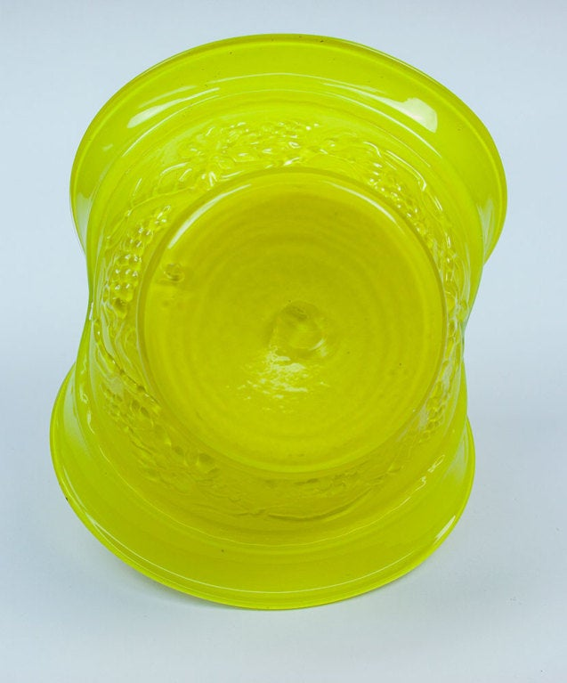 Czech Mid Century Modern Yellow and Blue Glass Basket, circa 1950s Estate Find For Sale