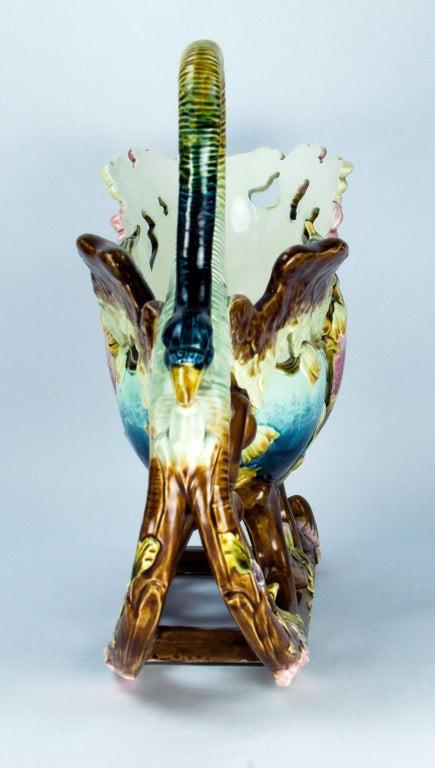 Glazed Art Nouveau Majolica Barbotine Pottery Sleigh Jardiniere Estate Find For Sale