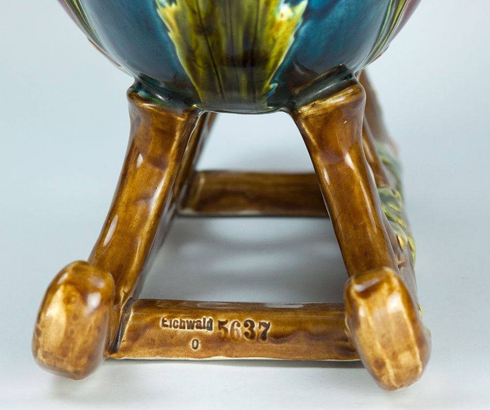Art Nouveau Majolica Barbotine Pottery Sleigh Jardiniere Estate Find In Excellent Condition For Sale In Montreal, QC