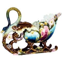 Art Nouveau Majolica Barbotine Pottery Sleigh Jardiniere