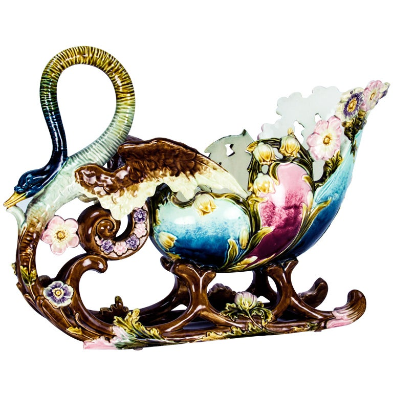 Art Nouveau Majolica Barbotine Pottery Sleigh Jardiniere Estate Find For Sale