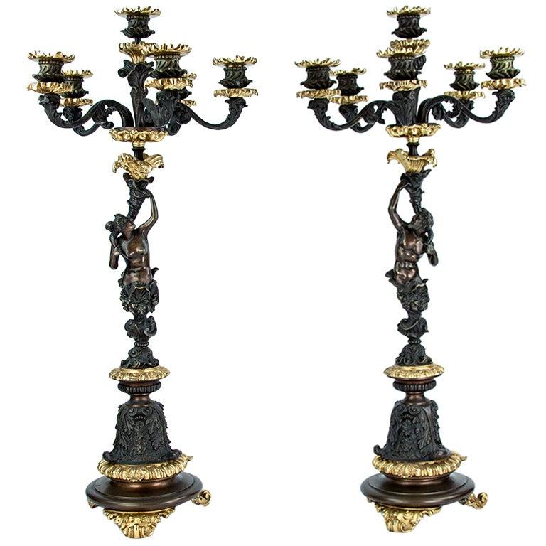 Fabulous Pair Napoleon III Bronze Ormolu Candelabra France