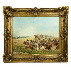 Cavalry Charge Oil on Panel Painting by Paul Émile Perboyre, France