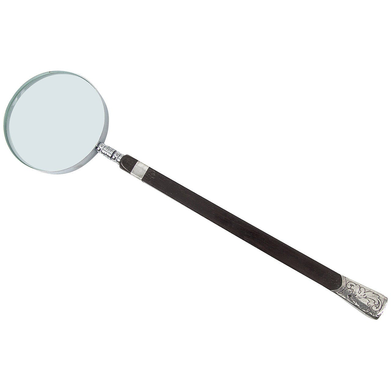 Victorian Mahogany and Sterling Silver Parasol Handle Magnifier