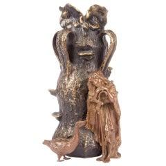 Carl Kauba Bronze Figural Vase of The Goose Girl