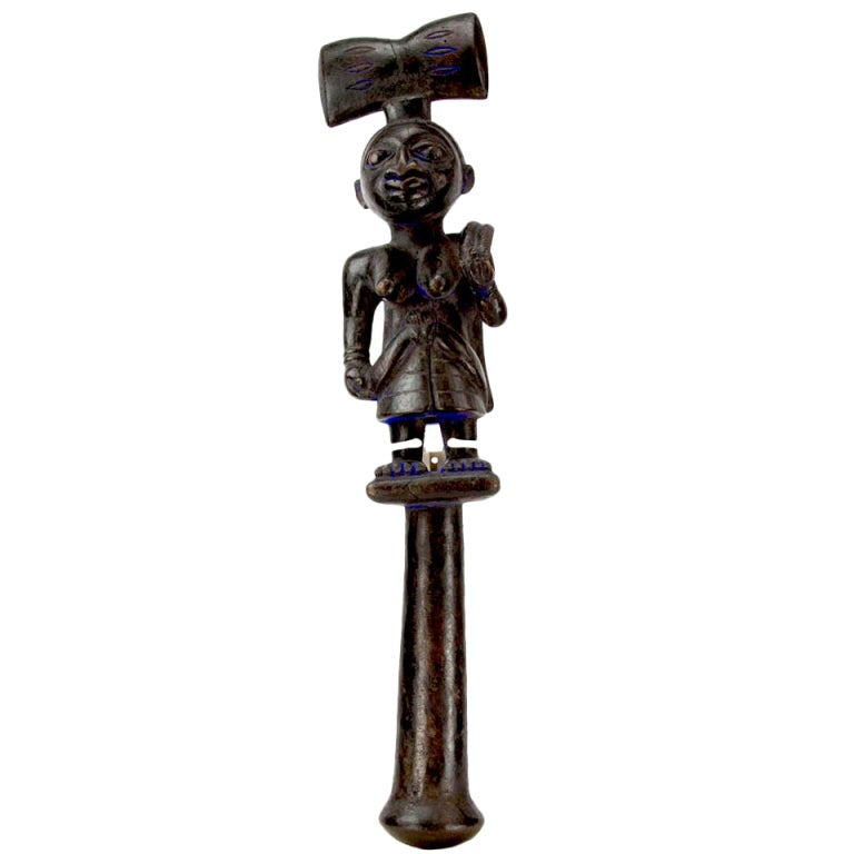 Antique African Nigeria Yoruba Shango Tribal Staff At 1stdibs