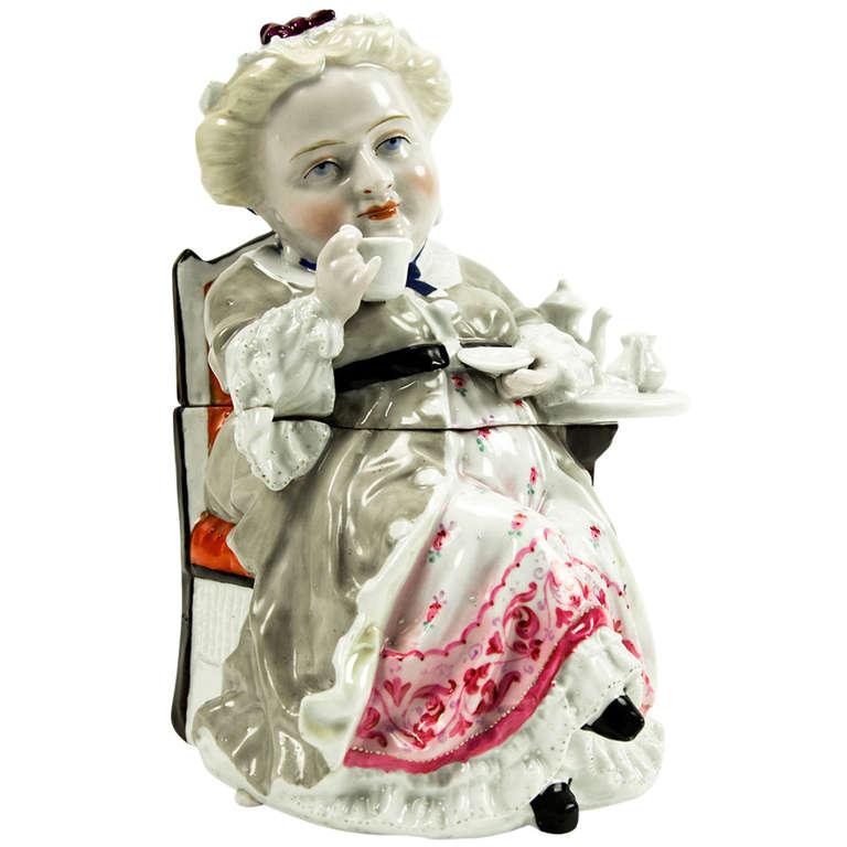 Rare Antique Figural Tea Caddy or Tobacco Box France circa 1890s
