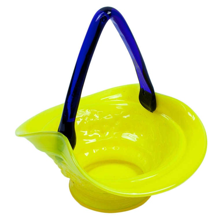 Mid Century Modern Yellow and Blue Glass Basket, circa 1950s Estate Find For Sale