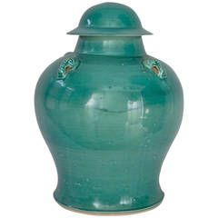 Turquoise Green Porcelain Covered Urn