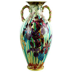 Art Nouveau Satsuma Double Handle Floral Pottery Vase