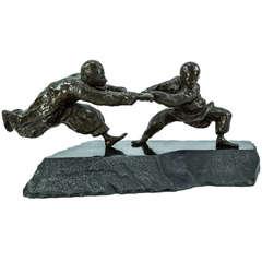 Bronze Sculpture Boys at Play Agnes Farkas