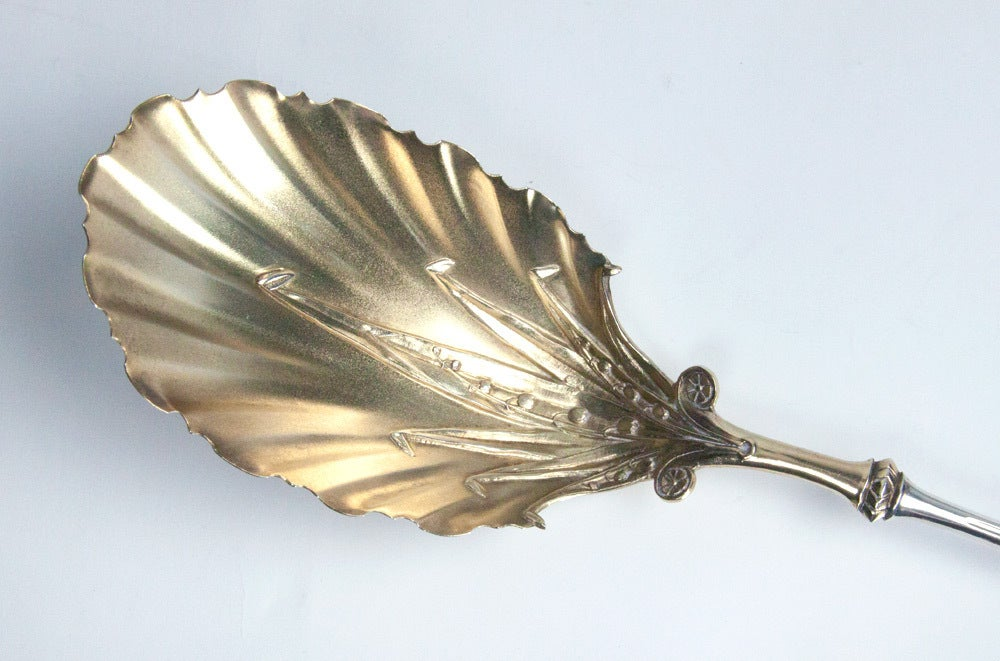 Antique Gorham Lily of the Valley Sterling Silver Berry Spoon 3
