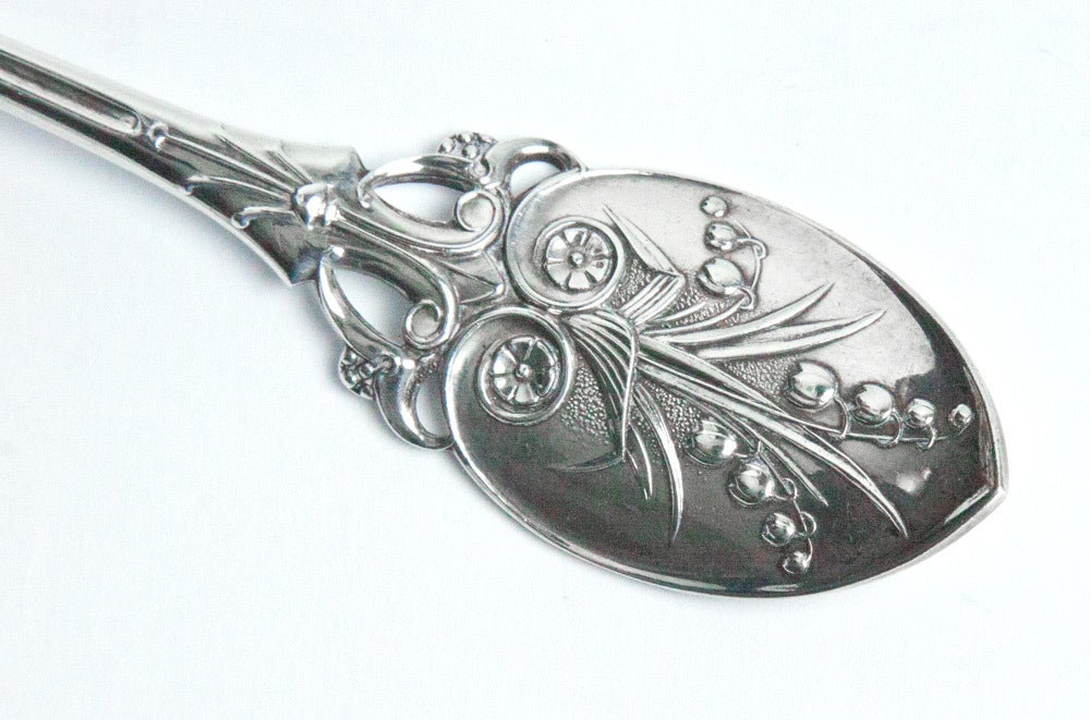 Antique Gorham Lily of the Valley Sterling Silver Berry Spoon 5