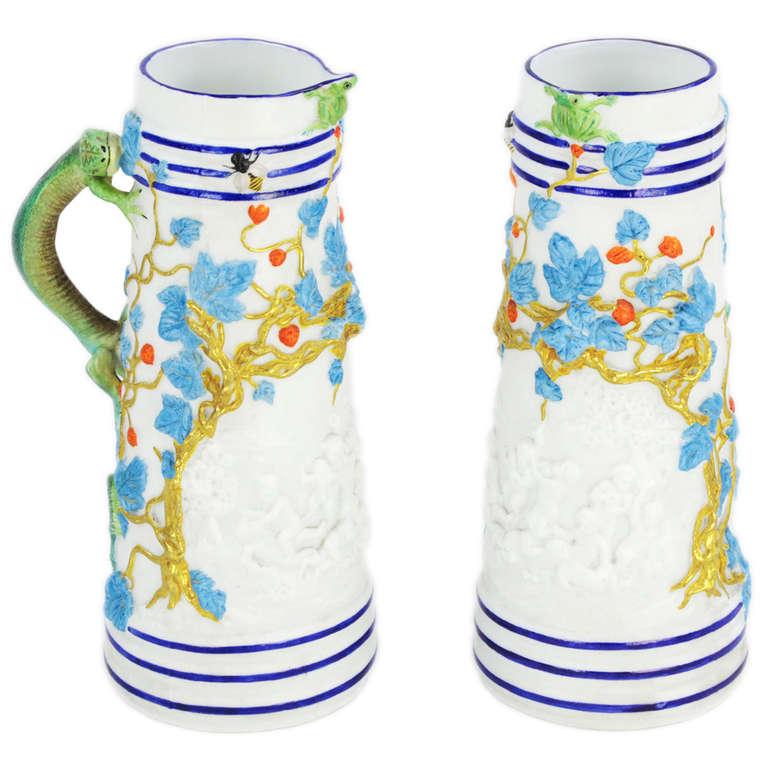 Rare George Jones Staffordshire Pair of Porcelain Pitchers