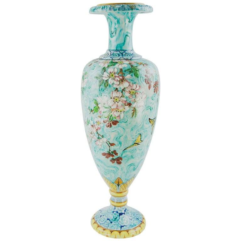 Large French Art Nouveau Majolica Porcelain Vase