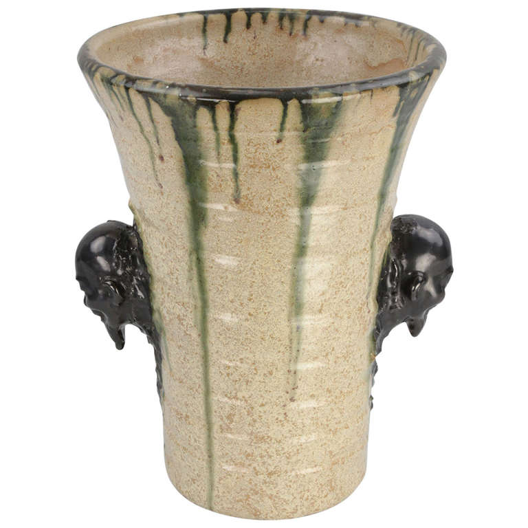 Large Figural Art Pottery Vase By Ernest Patris Belgium For Sale At