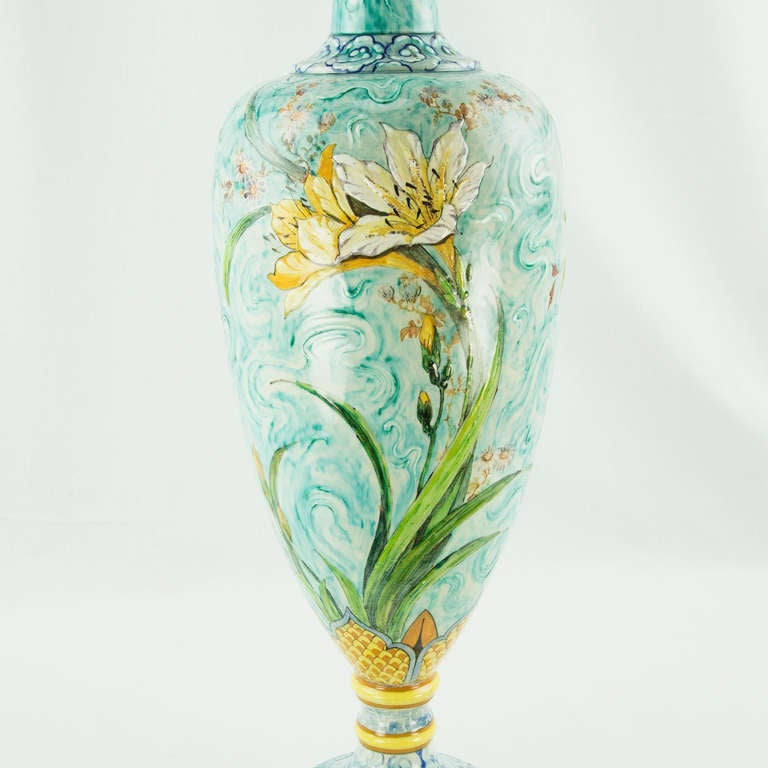 19th Century Large French Art Nouveau Majolica Porcelain Vase For Sale