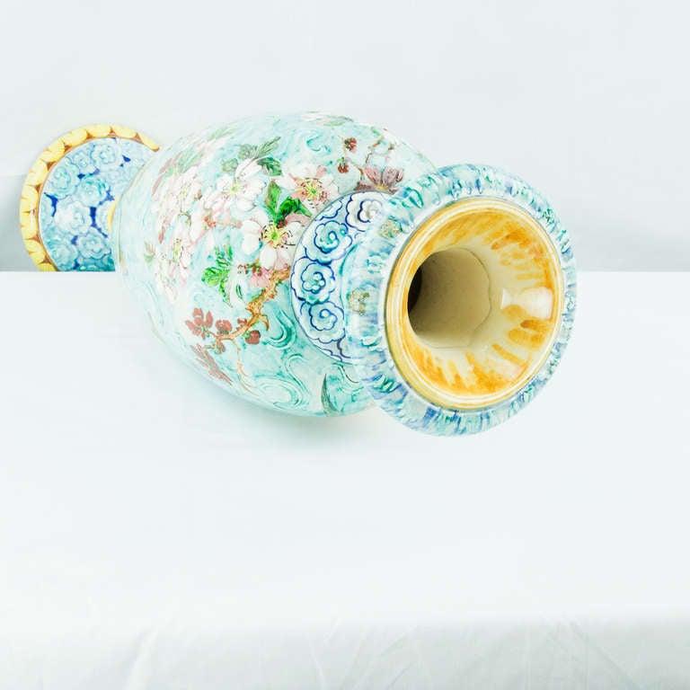 Pottery Large French Art Nouveau Majolica Porcelain Vase For Sale