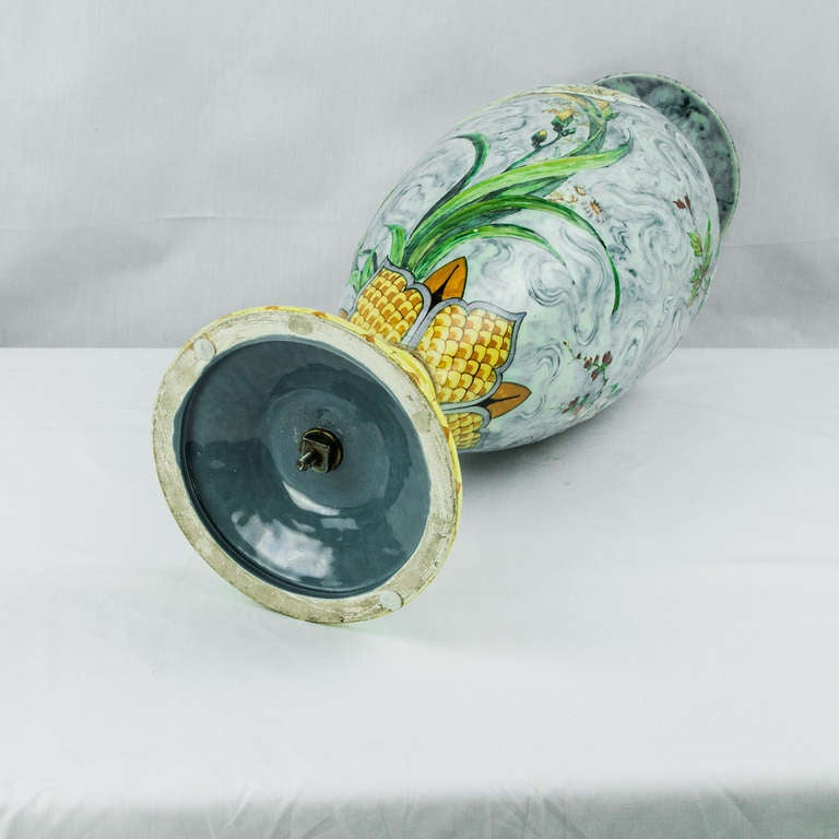 Large French Art Nouveau Majolica Porcelain Vase For Sale 1