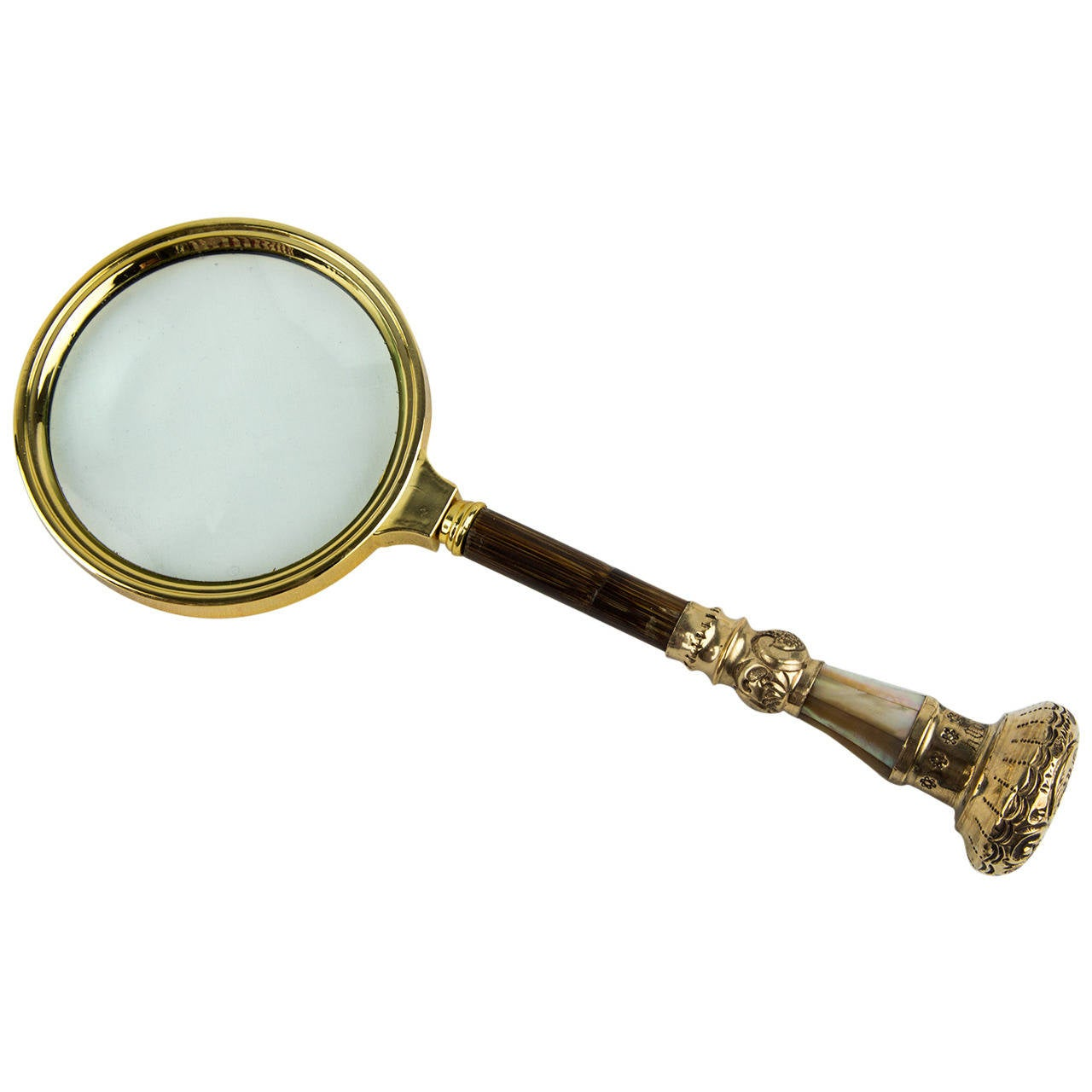 Antique Gilt Silver Bamboo Mother Of Pearl Handle