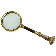 Antique Gilt Silver Bamboo Mother-of-Pearl Handle Magnifying Glass