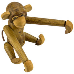 Mid-Century Modern Articulated Wood Toy Monkey