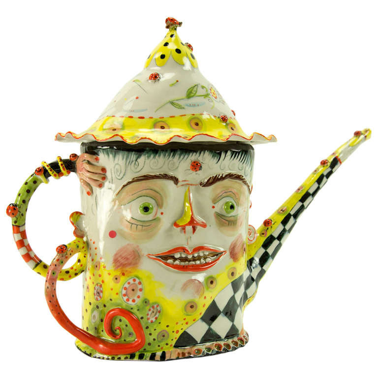 Whimsical Figular Porcelain Teapot Signed Irina Zaytceva