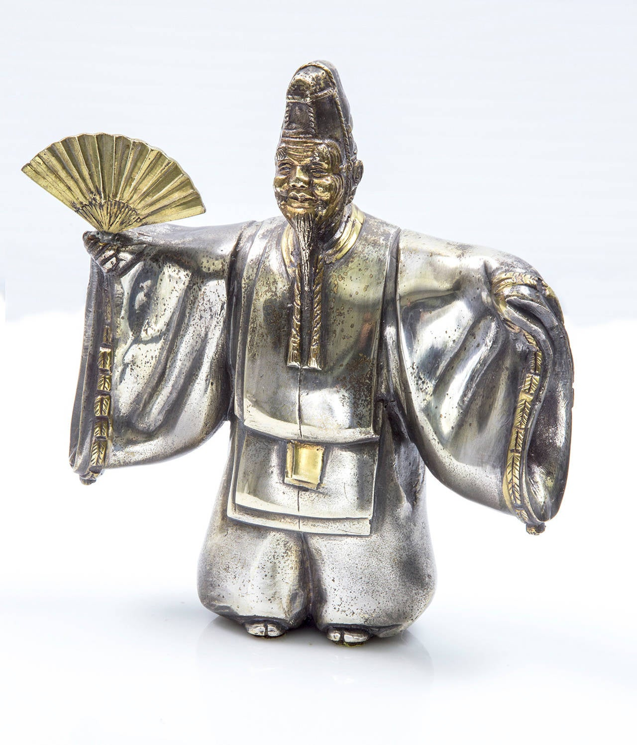 Mid-20th Century Japanese Classical Kabuki Theater Character Silvered Bronze Sculpture Estate  For Sale