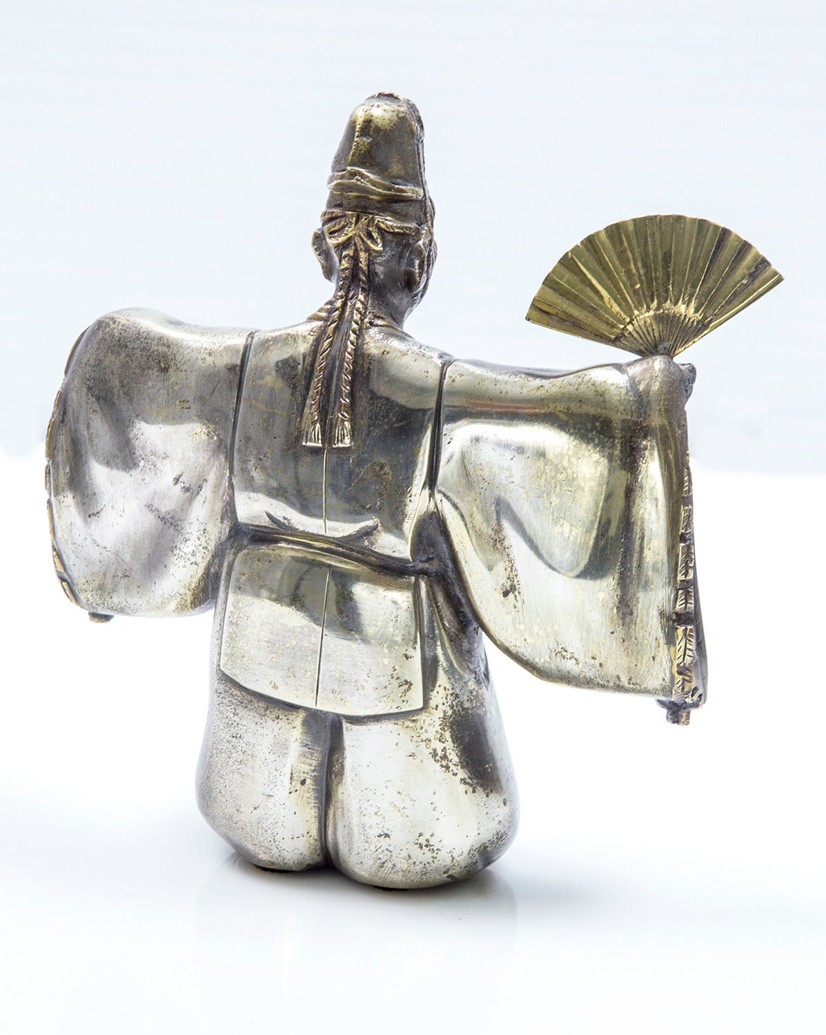 Mid-Century Modern Japanese Classical Kabuki Theater Character Silvered Bronze Sculpture Estate  For Sale