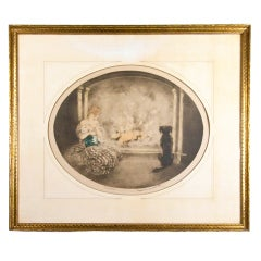 Original Hand Signed Etching by Louis Icart Cendrillon